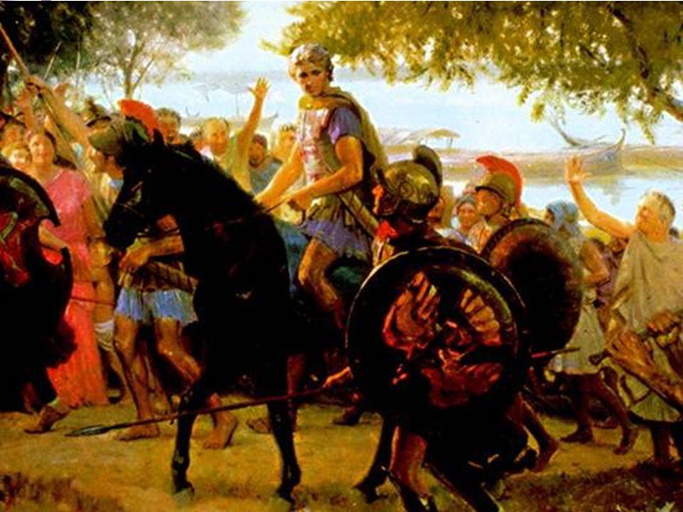 «Όταν ανέλαβε τη βασιλεία ο Αλέξανδρος, ως γιος του δολοφονημένου Φιλίππου, πήγε στην Πελοπόννησο- ήταν τότε περίπου είκοσι ετών. Εκεί συγκέντρωσε του