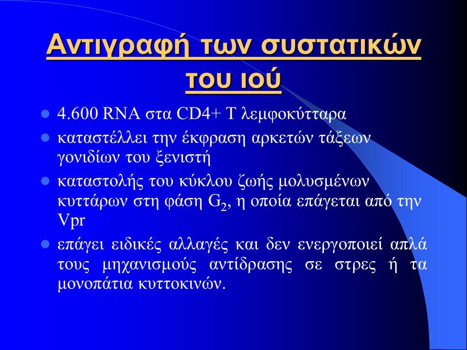 Αντιγραφή των συστατικών του ιού 4.600 RNA στα CD4+ Τ λεμφοκύτταρα καταστέλλει την έκφραση αρκετών τάξεων γονιδίων του ξενιστή καταστολής του κύκλου ζωής μολυσμένων κυττάρων στη φάση G 2, η οποία επάγεται από την Vpr επάγει ειδικές αλλαγές και δεν ενεργοποιεί απλά τους μηχανισμούς αντίδρασης σε στρες ή τα μονοπάτια κυττοκινών.