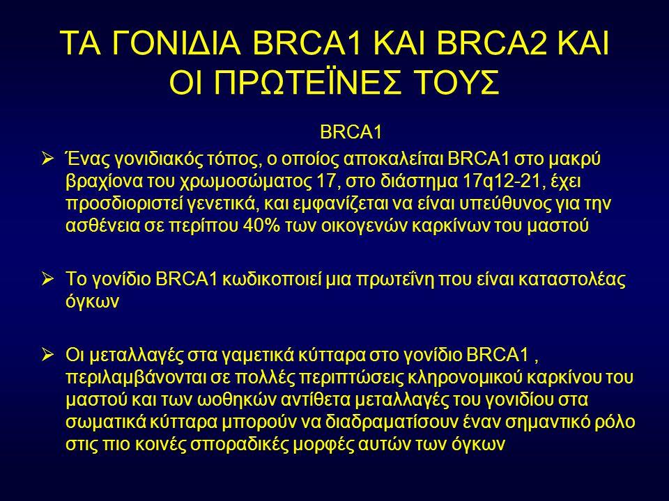ΤΑ ΓΟΝΙΔΙΑ BRCA1 ΚΑΙ BRCA2 ΚΑΙ ΟΙ ΠΡΩΤΕΪΝΕΣ ΤΟΥΣ BRCA1  Ένας γονιδιακός τόπος, ο οποίος αποκαλείται BRCA1 στο μακρύ βραχίονα του χρωμοσώματος 17, στο
