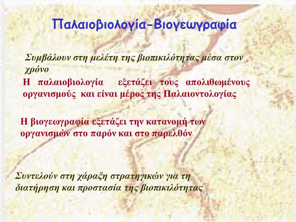Παλαιοβιολογία-Βιογεωγραφία Συμβάλουν στη μελέτη της βιοπικιλότητας μέσα στον χρόνο Η παλαιοβιολογία εξετάζει τους απολιθωμένους οργανισμούς και είναι