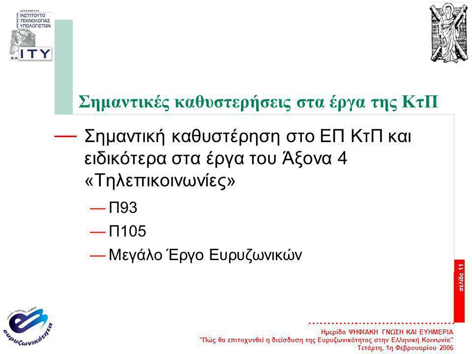 Ημερίδα ΨΗΦΙΑΚΗ ΓΝΩΣΗ ΚΑΙ ΕΥΗΜΕΡΙΑ Πώς θα επιταχυνθεί η διείσδυση της Ευρυζωνικότητας στην Ελληνική Κοινωνία Τετάρτη, 1η Φεβρουαρίου 2006 σελίδα 11 Σημαντικές καθυστερήσεις στα έργα της ΚτΠ — Σημαντική καθυστέρηση στο ΕΠ ΚτΠ και ειδικότερα στα έργα του Άξονα 4 «Τηλεπικοινωνίες» —Π93 —Π105 —Μεγάλο Έργο Ευρυζωνικών