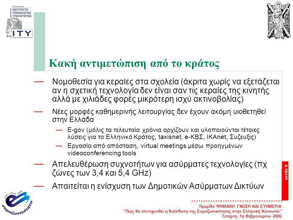 Ημερίδα ΨΗΦΙΑΚΗ ΓΝΩΣΗ ΚΑΙ ΕΥΗΜΕΡΙΑ Πώς θα επιταχυνθεί η διείσδυση της Ευρυζωνικότητας στην Ελληνική Κοινωνία Τετάρτη, 1η Φεβρουαρίου 2006 σελίδα 9 Κακή αντιμετώπιση από το κράτος — Νομοθεσία για κεραίες στα σχολεία (άκριτα χωρίς να εξετάζεται αν η σχετική τεχνολογία δεν είναι σαν τις κεραίες της κινητής αλλά με χιλιάδες φορές μικρότερη ισχύ ακτινοβολίας) — Νέες μορφές καθημερινής λειτουργίας δεν έχουν ακόμη υιοθετηθεί στην Ελλάδα —E-gov (μόλις τα τελευταία χρόνια αρχίζουν και υλοποιούνται τέτοιες λύσεις για το Ελληνικό Κράτος, taxisnet, e-ΚΒΣ, IKAnet, Συζευξις) —Εργασία από απόσταση, virtual meetings μέσω προηγμένων videoconferencing tools — Απελευθέρωση συχνοτήτων για ασύρματες τεχνολογίες (πχ ζώνες των 3,4 και 5,4 GHz) — Απαιτείται η ενίσχυση των Δημοτικών Ασύρματων Δικτύων