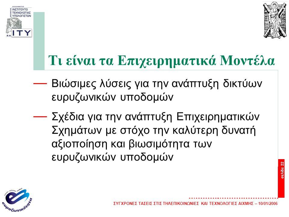 ΣΥΓΧΡΟΝΕΣ ΤΑΣΕΙΣ ΣΤΙΣ ΤΗΛΕΠΙΚΟΙΝΩΝΙΕΣ ΚΑΙ ΤΕΧΝΟΛΟΓΙΕΣ ΑΙΧΜΗΣ – 10/01/2006 σελίδα 22 Τι είναι τα Επιχειρηματικά Μοντέλα — Βιώσιμες λύσεις για την ανάπτυξη δικτύων ευρυζωνικών υποδομών — Σχέδια για την ανάπτυξη Επιχειρηματικών Σχημάτων με στόχο την καλύτερη δυνατή αξιοποίηση και βιωσιμότητα των ευρυζωνικών υποδομών