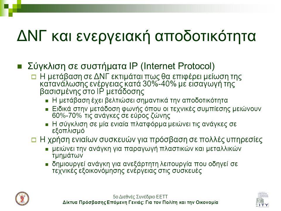 5o Διεθνές Συνέδριο ΕΕΤΤ Δίκτυα Πρόσβασης Επόμενη Γενιάς: Για τον Πολίτη και την Οικονομία ΔΝΓ και ενεργειακή αποδοτικότητα Σύγκλιση σε συστήματα IP (