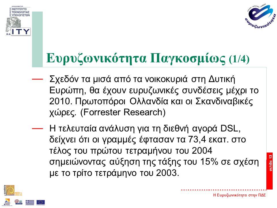 Η Ευρυζωνικότητα στην ΠΔΕ σελίδα 13 Ευρυζωνικότητα Παγκοσμίως (1/4) — Σχεδόν τα μισά από τα νοικοκυριά στη Δυτική Ευρώπη, θα έχουν ευρυζωνικές συνδέσεις μέχρι το 2010.