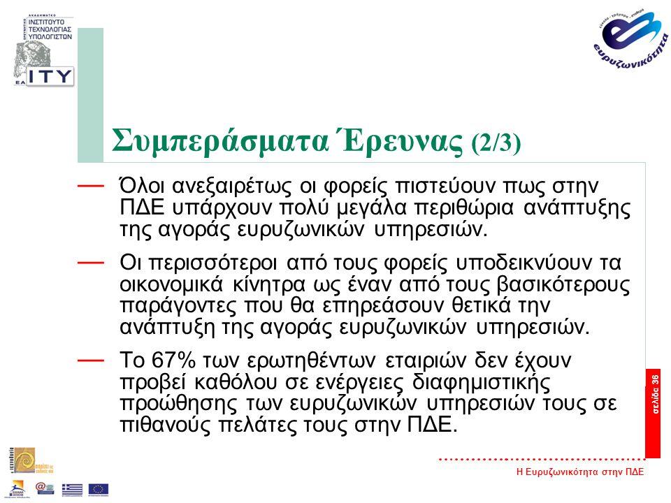 Η Ευρυζωνικότητα στην ΠΔΕ σελίδα 36 Συμπεράσματα Έρευνας (2/3) — Όλοι ανεξαιρέτως οι φορείς πιστεύουν πως στην ΠΔΕ υπάρχουν πολύ μεγάλα περιθώρια ανάπτυξης της αγοράς ευρυζωνικών υπηρεσιών.