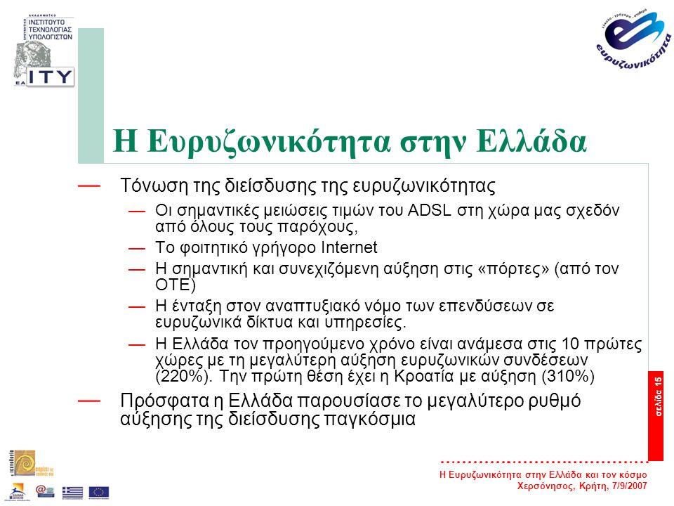 Η Ευρυζωνικότητα στην Ελλάδα και τον κόσμο Χερσόνησος, Κρήτη, 7/9/2007 σελίδα 15 Η Ευρυζωνικότητα στην Ελλάδα — Τόνωση της διείσδυσης της ευρυζωνικότη
