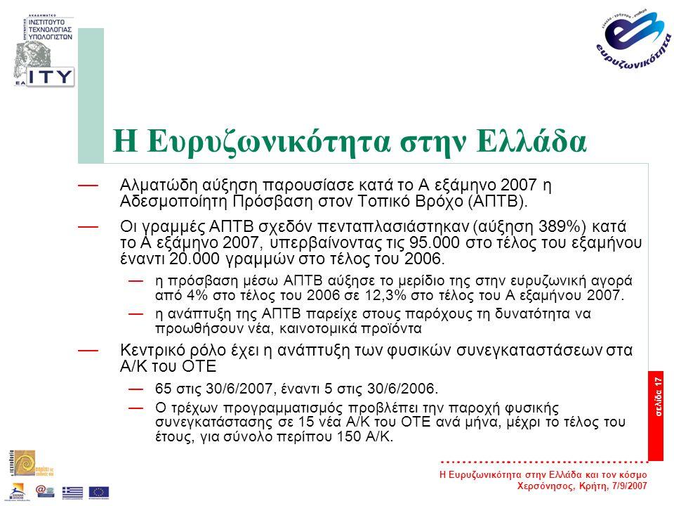 Η Ευρυζωνικότητα στην Ελλάδα και τον κόσμο Χερσόνησος, Κρήτη, 7/9/2007 σελίδα 17 Η Ευρυζωνικότητα στην Ελλάδα — Αλματώδη αύξηση παρουσίασε κατά το Α ε