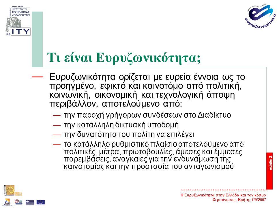Η Ευρυζωνικότητα στην Ελλάδα και τον κόσμο Χερσόνησος, Κρήτη, 7/9/2007 σελίδα 2 Τι είναι Ευρυζωνικότητα; — Ευρυζωνικότητα ορίζεται με ευρεία έννοια ως