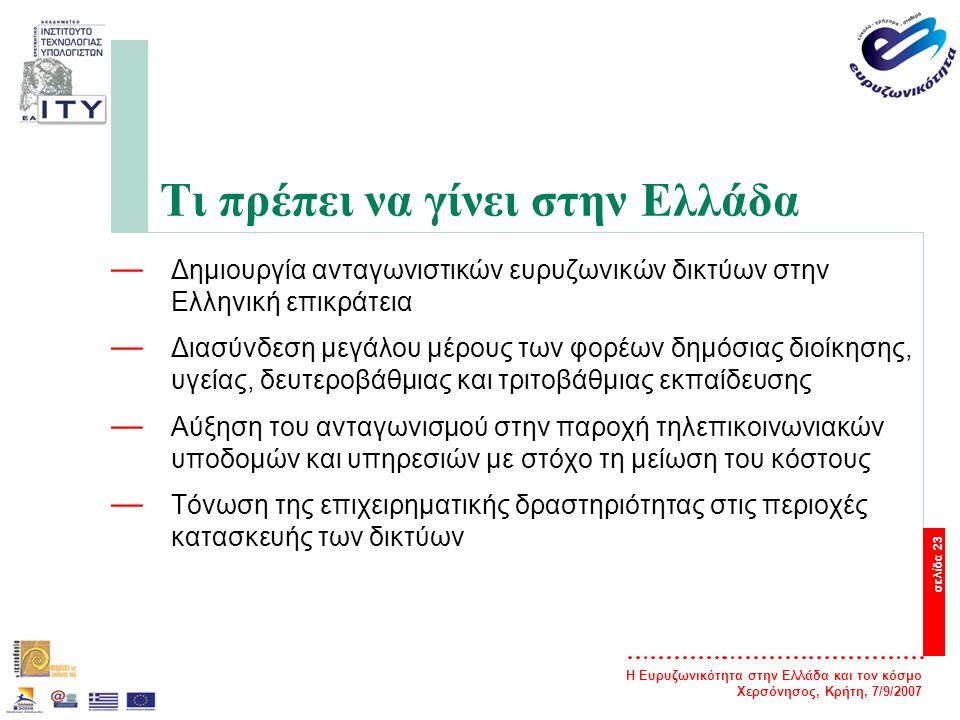 Η Ευρυζωνικότητα στην Ελλάδα και τον κόσμο Χερσόνησος, Κρήτη, 7/9/2007 σελίδα 23 Τι πρέπει να γίνει στην Ελλάδα — Δημιουργία ανταγωνιστικών ευρυζωνικώ