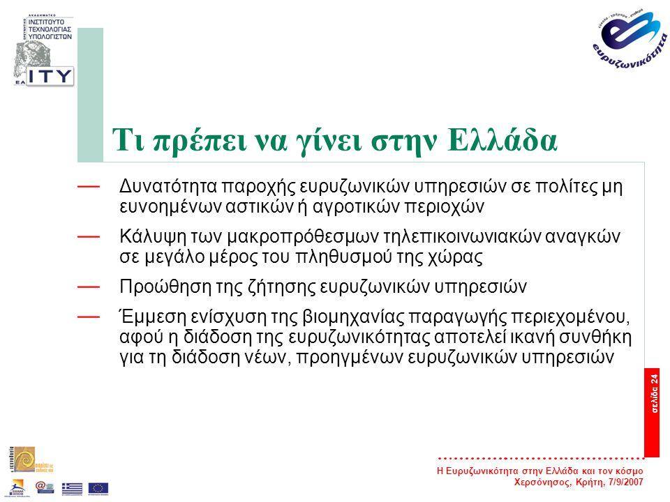 Η Ευρυζωνικότητα στην Ελλάδα και τον κόσμο Χερσόνησος, Κρήτη, 7/9/2007 σελίδα 24 Τι πρέπει να γίνει στην Ελλάδα — Δυνατότητα παροχής ευρυζωνικών υπηρε