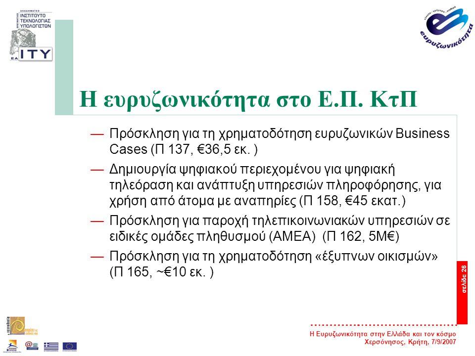 Η Ευρυζωνικότητα στην Ελλάδα και τον κόσμο Χερσόνησος, Κρήτη, 7/9/2007 σελίδα 26 Η ευρυζωνικότητα στο Ε.Π. ΚτΠ —Πρόσκληση για τη χρηματοδότηση ευρυζων