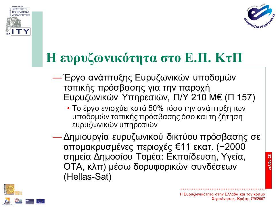 Η Ευρυζωνικότητα στην Ελλάδα και τον κόσμο Χερσόνησος, Κρήτη, 7/9/2007 σελίδα 28 Η ευρυζωνικότητα στο Ε.Π. ΚτΠ —Έργο ανάπτυξης Ευρυζωνικών υποδομών το