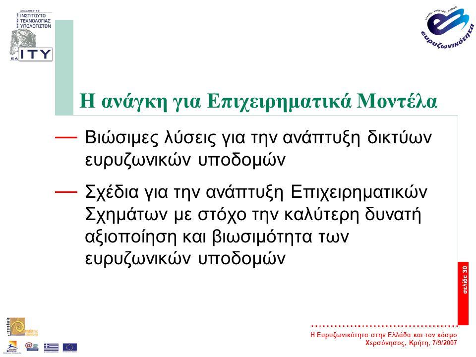 Η Ευρυζωνικότητα στην Ελλάδα και τον κόσμο Χερσόνησος, Κρήτη, 7/9/2007 σελίδα 30 Η ανάγκη για Επιχειρηματικά Μοντέλα — Βιώσιμες λύσεις για την ανάπτυξ