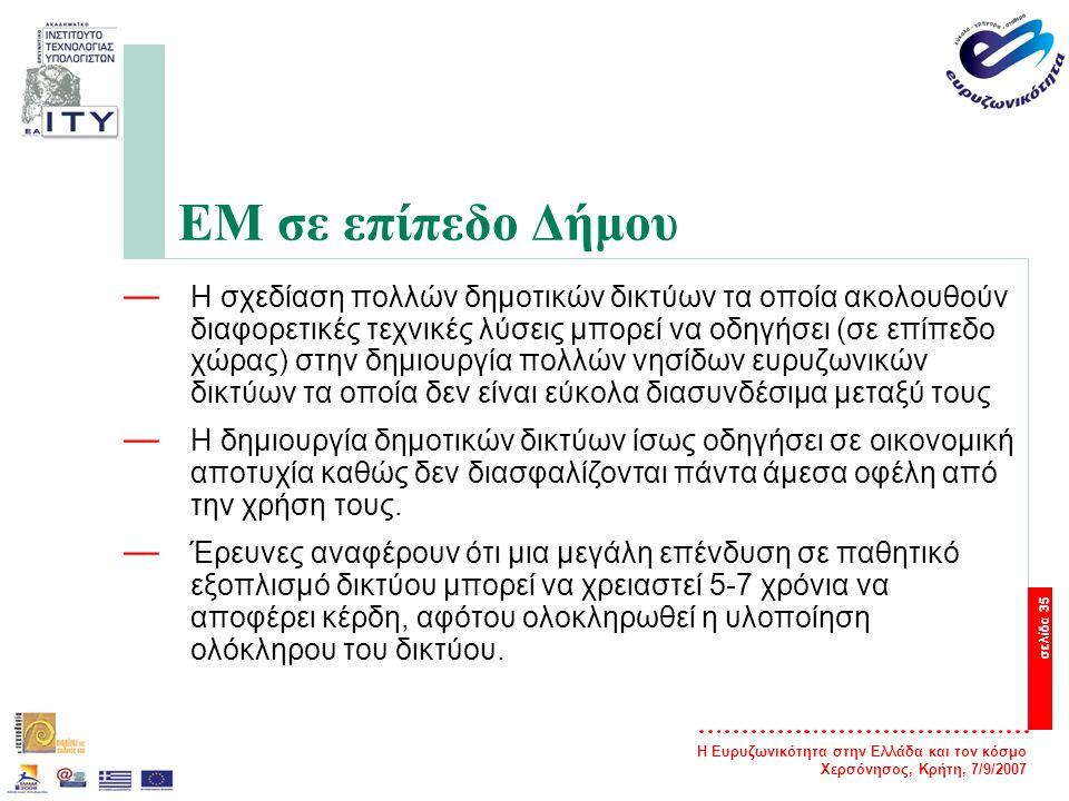 Η Ευρυζωνικότητα στην Ελλάδα και τον κόσμο Χερσόνησος, Κρήτη, 7/9/2007 σελίδα 35 ΕΜ σε επίπεδο Δήμου — Η σχεδίαση πολλών δημοτικών δικτύων τα οποία ακ