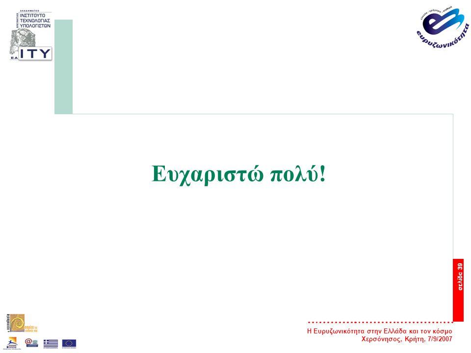 Η Ευρυζωνικότητα στην Ελλάδα και τον κόσμο Χερσόνησος, Κρήτη, 7/9/2007 σελίδα 39 Ευχαριστώ πολύ!