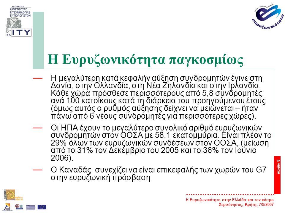 Η Ευρυζωνικότητα στην Ελλάδα και τον κόσμο Χερσόνησος, Κρήτη, 7/9/2007 σελίδα 8 Η Ευρυζωνικότητα παγκοσμίως — Η μεγαλύτερη κατά κεφαλήν αύξηση συνδρομ