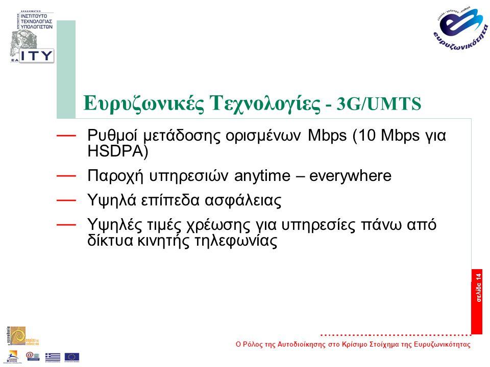 Ο Ρόλος της Αυτοδιοίκησης στο Κρίσιμο Στοίχημα της Ευρυζωνικότητας σελίδα 14 Ευρυζωνικές Τεχνολογίες - 3G/UMTS — Ρυθμοί μετάδοσης ορισμένων Mbps (10 Mbps για HSDPA) — Παροχή υπηρεσιών anytime – everywhere — Υψηλά επίπεδα ασφάλειας — Υψηλές τιμές χρέωσης για υπηρεσίες πάνω από δίκτυα κινητής τηλεφωνίας