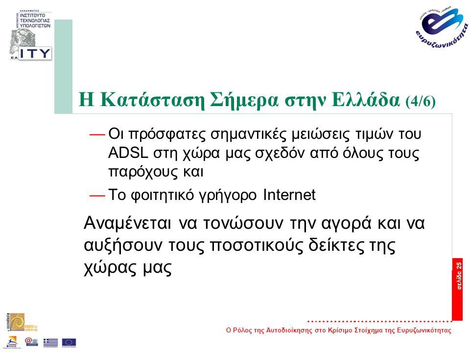 Ο Ρόλος της Αυτοδιοίκησης στο Κρίσιμο Στοίχημα της Ευρυζωνικότητας σελίδα 25 Η Κατάσταση Σήμερα στην Ελλάδα (4/6) —Οι πρόσφατες σημαντικές μειώσεις τιμών του ADSL στη χώρα μας σχεδόν από όλους τους παρόχους και —Το φοιτητικό γρήγορο Internet Αναμένεται να τονώσουν την αγορά και να αυξήσουν τους ποσοτικούς δείκτες της χώρας μας