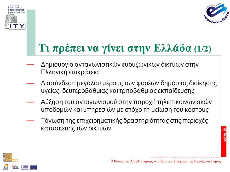 Ο Ρόλος της Αυτοδιοίκησης στο Κρίσιμο Στοίχημα της Ευρυζωνικότητας σελίδα 28 Τι πρέπει να γίνει στην Ελλάδα (1/2) — Δημιουργία ανταγωνιστικών ευρυζωνικών δικτύων στην Ελληνική επικράτεια — Διασύνδεση μεγάλου μέρους των φορέων δημόσιας διοίκησης, υγείας, δευτεροβάθμιας και τριτοβάθμιας εκπαίδευσης — Αύξηση του ανταγωνισμού στην παροχή τηλεπικοινωνιακών υποδομών και υπηρεσιών με στόχο τη μείωση του κόστους — Τόνωση της επιχειρηματικής δραστηριότητας στις περιοχές κατασκευής των δικτύων