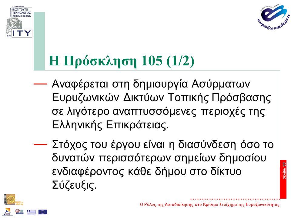 Ο Ρόλος της Αυτοδιοίκησης στο Κρίσιμο Στοίχημα της Ευρυζωνικότητας σελίδα 33 Η Πρόσκληση 105 (1/2) — Αναφέρεται στη δημιουργία Ασύρματων Ευρυζωνικών Δικτύων Τοπικής Πρόσβασης σε λιγότερο αναπτυσσόμενες περιοχές της Ελληνικής Επικράτειας.