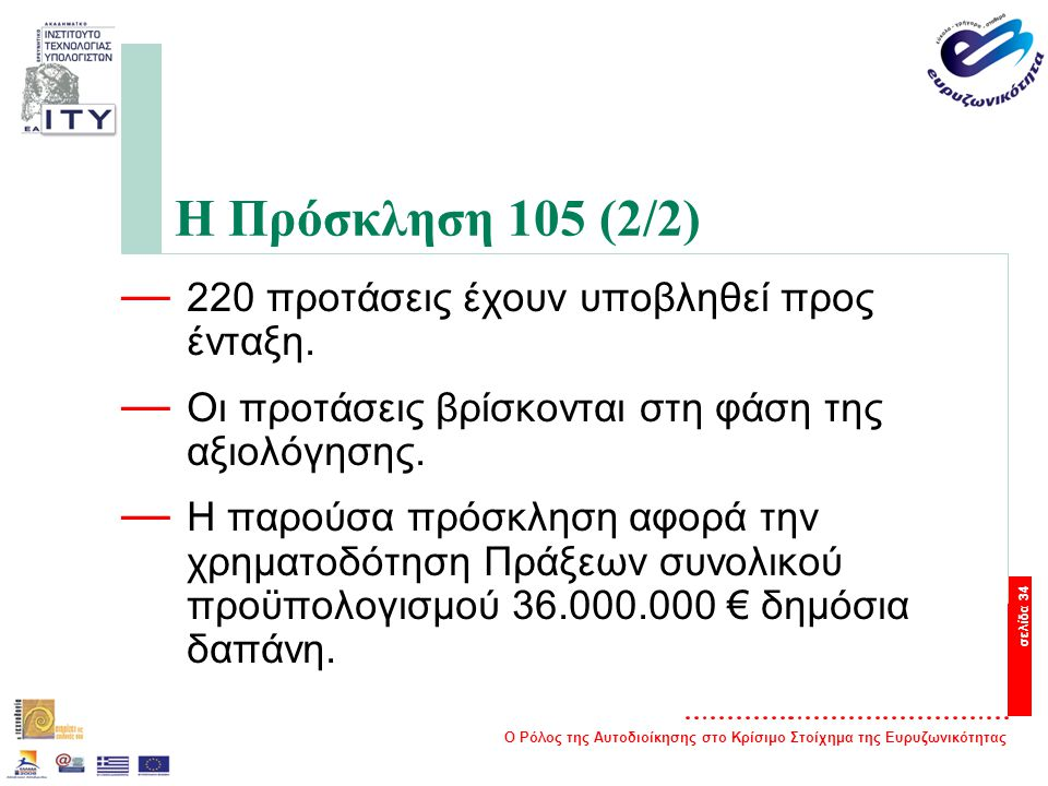 Ο Ρόλος της Αυτοδιοίκησης στο Κρίσιμο Στοίχημα της Ευρυζωνικότητας σελίδα 34 Η Πρόσκληση 105 (2/2) — 220 προτάσεις έχουν υποβληθεί προς ένταξη.