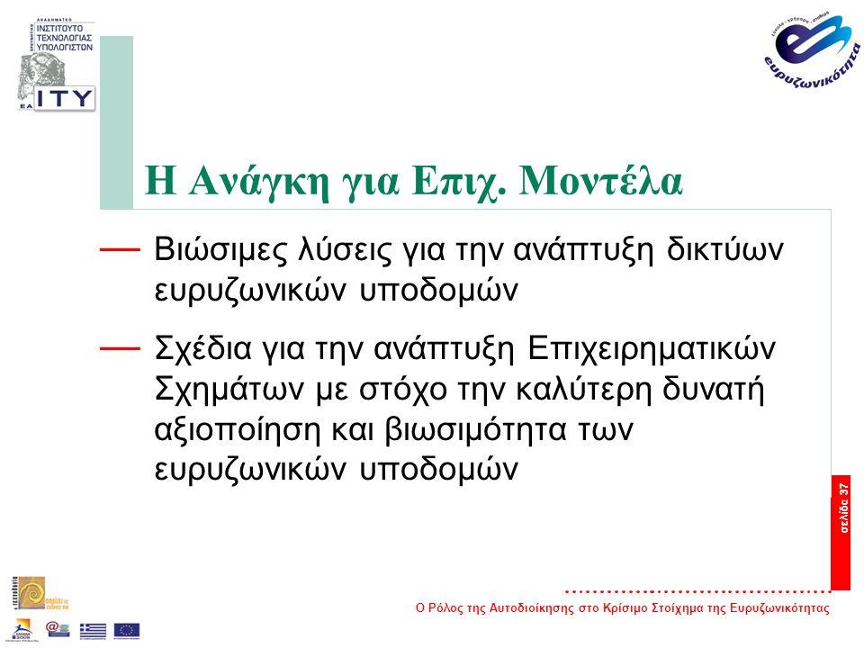 Ο Ρόλος της Αυτοδιοίκησης στο Κρίσιμο Στοίχημα της Ευρυζωνικότητας σελίδα 37 Η Ανάγκη για Επιχ.