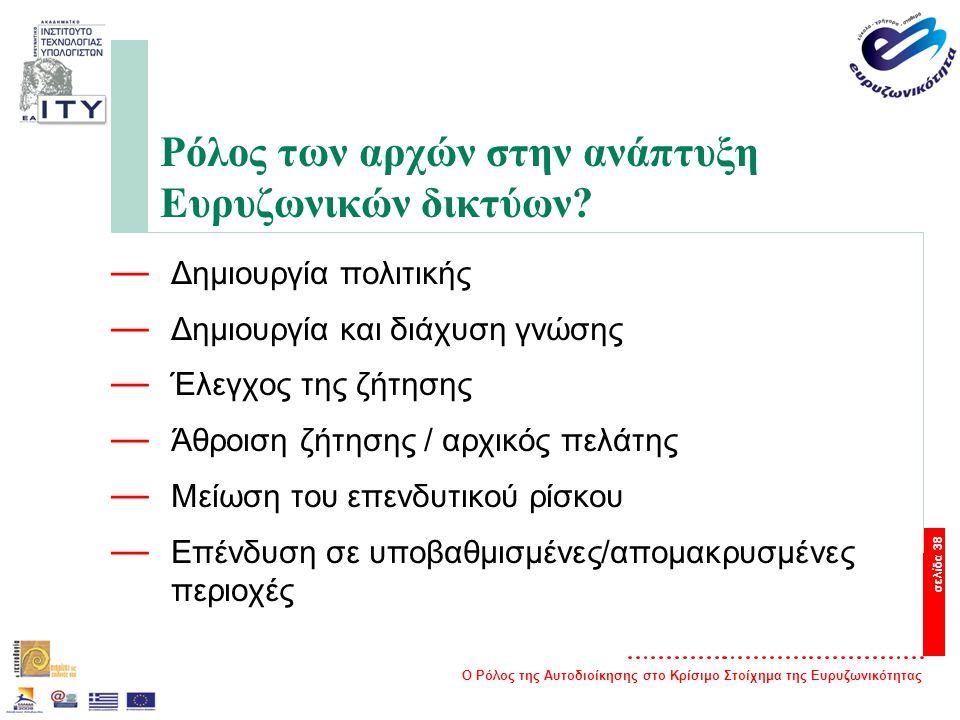 Ο Ρόλος της Αυτοδιοίκησης στο Κρίσιμο Στοίχημα της Ευρυζωνικότητας σελίδα 38 Ρόλος των αρχών στην ανάπτυξη Ευρυζωνικών δικτύων.