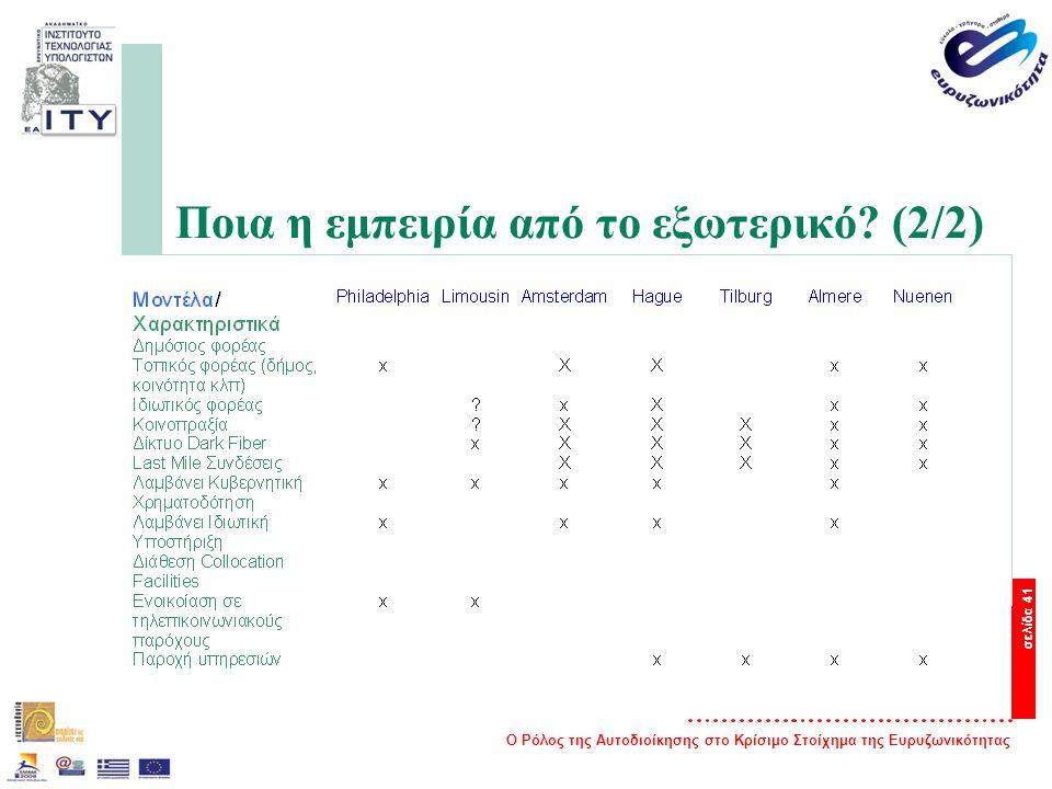Ο Ρόλος της Αυτοδιοίκησης στο Κρίσιμο Στοίχημα της Ευρυζωνικότητας σελίδα 41 Ποια η εμπειρία από το εξωτερικό.