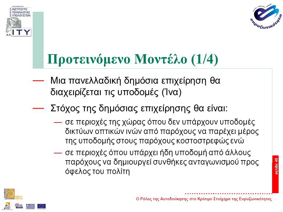 Ο Ρόλος της Αυτοδιοίκησης στο Κρίσιμο Στοίχημα της Ευρυζωνικότητας σελίδα 45 Προτεινόμενο Μοντέλο (1/4) — Μια πανελλαδική δημόσια επιχείρηση θα διαχειρίζεται τις υποδομές (Ίνα) — Στόχος της δημόσιας επιχείρησης θα είναι: —σε περιοχές της χώρας όπου δεν υπάρχουν υποδομές δικτύων οπτικών ινών από παρόχους να παρέχει μέρος της υποδομής στους παρόχους κοστοστρεφώς ενώ —σε περιοχές όπου υπάρχει ήδη υποδομή από άλλους παρόχους να δημιουργεί συνθήκες ανταγωνισμού προς όφελος του πολίτη
