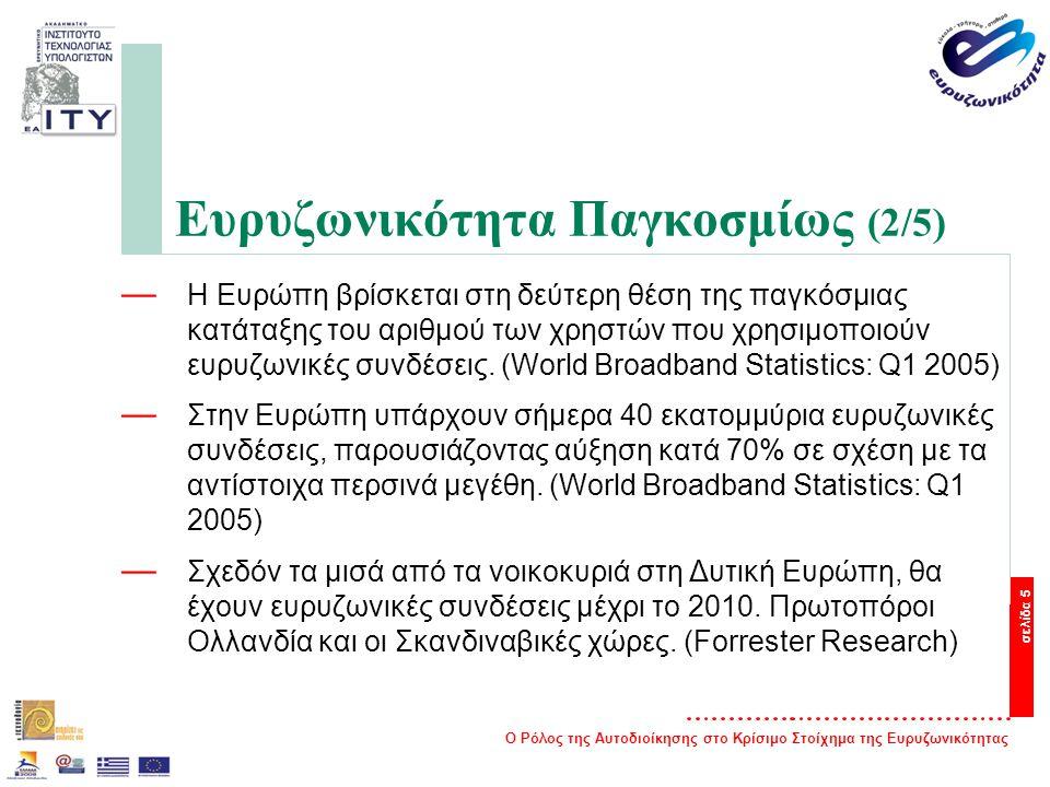 Ο Ρόλος της Αυτοδιοίκησης στο Κρίσιμο Στοίχημα της Ευρυζωνικότητας σελίδα 5 Ευρυζωνικότητα Παγκοσμίως (2/5) — Η Ευρώπη βρίσκεται στη δεύτερη θέση της παγκόσμιας κατάταξης του αριθμού των χρηστών που χρησιμοποιούν ευρυζωνικές συνδέσεις.