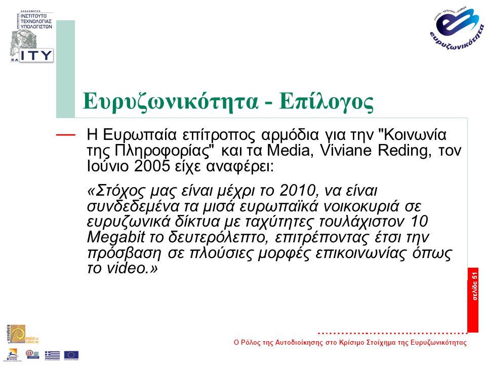 Ο Ρόλος της Αυτοδιοίκησης στο Κρίσιμο Στοίχημα της Ευρυζωνικότητας σελίδα 51 Ευρυζωνικότητα - Επίλογος — Η Ευρωπαία επίτροπος αρμόδια για την Κοινωνία της Πληροφορίας και τα Media, Viviane Reding, τον Ιούνιο 2005 είχε αναφέρει: «Στόχος μας είναι μέχρι το 2010, να είναι συνδεδεμένα τα μισά ευρωπαϊκά νοικοκυριά σε ευρυζωνικά δίκτυα με ταχύτητες τουλάχιστον 10 Megabit το δευτερόλεπτο, επιτρέποντας έτσι την πρόσβαση σε πλούσιες μορφές επικοινωνίας όπως το video.»
