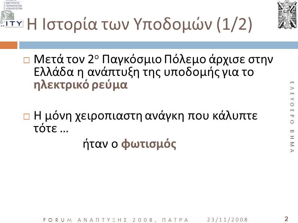 ΕΛΕΥΘΕΡΟ ΒΗΜΑ FORUM ΑΝΑΠΤΥΞΗΣ 2008, ΠΑΤΡΑ 23/11/2008 2  Μετά τον 2 ο Παγκόσμιο Πόλεμο άρχισε στην Ελλάδα η ανάπτυξη της υποδομής για το ηλεκτρικό ρεύ