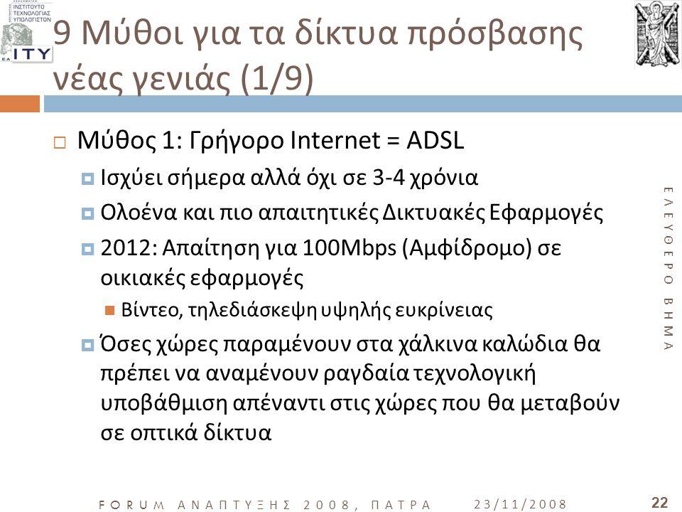ΕΛΕΥΘΕΡΟ ΒΗΜΑ FORUM ΑΝΑΠΤΥΞΗΣ 2008, ΠΑΤΡΑ 23/11/2008 22 9 Μύθοι για τα δίκτυα πρόσβασης νέας γενιάς (1/9)  Μύθος 1: Γρήγορο Internet = ADSL  Ισχύει