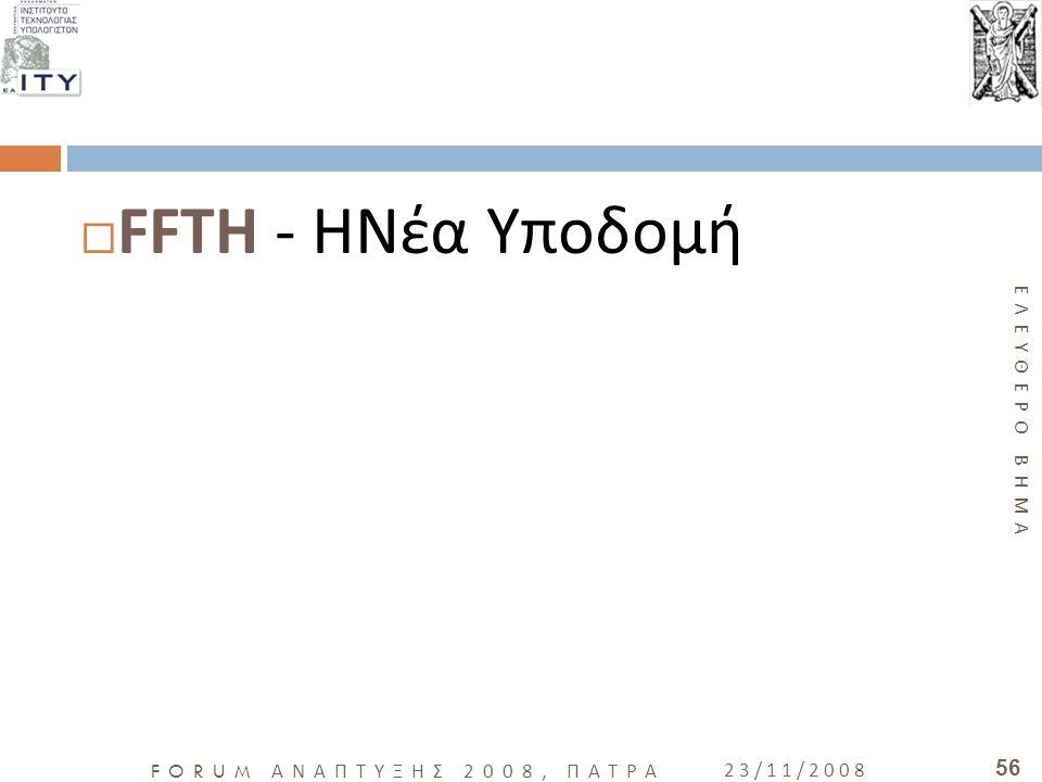 ΕΛΕΥΘΕΡΟ ΒΗΜΑ FORUM ΑΝΑΠΤΥΞΗΣ 2008, ΠΑΤΡΑ 23/11/2008 56  FFTH - ΗΝέα Υποδομή