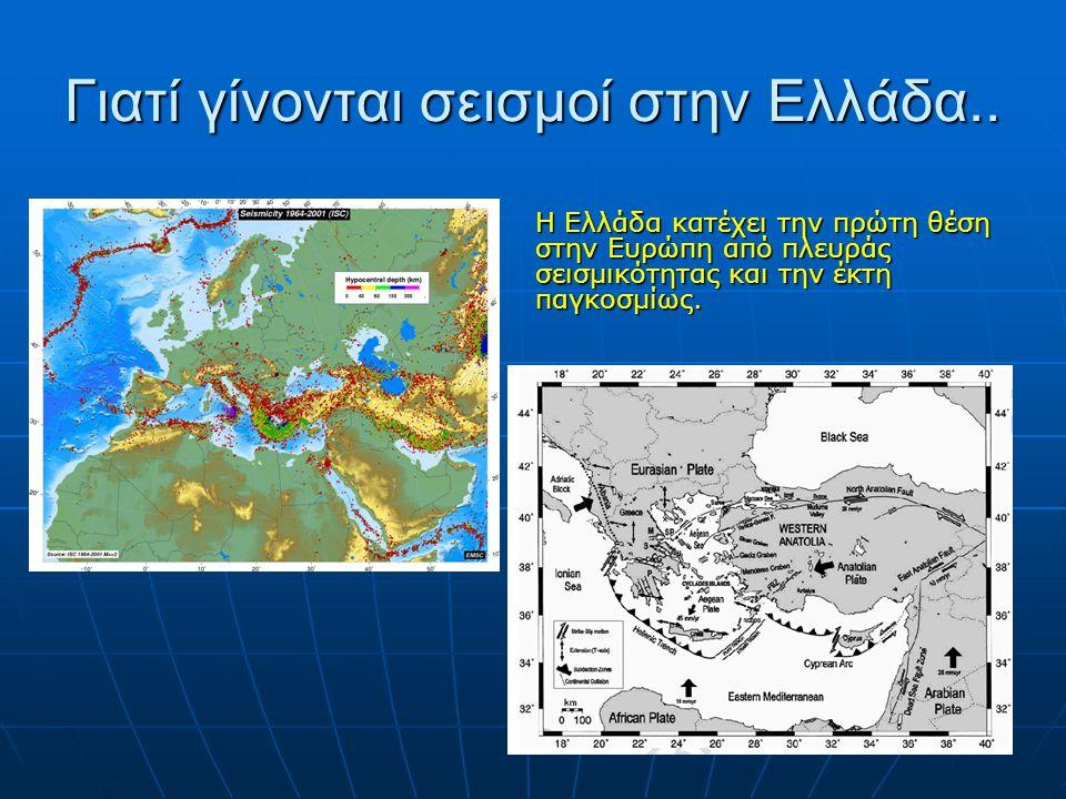 Γιατί γίνονται σεισμοί στην Ελλάδα.. Η Ελλάδα κατέχει την πρώτη θέση στην Ευρώπη από πλευράς σεισμικότητας και την έκτη παγκοσμίως.
