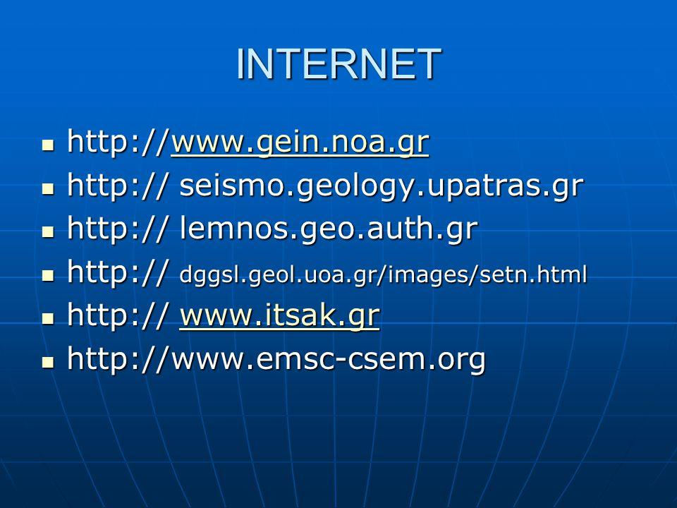 INTERNET http://www.gein.noa.gr http://www.gein.noa.grwww.gein.noa.gr http:// seismo.geology.upatras.gr http:// seismo.geology.upatras.gr http:// lemn