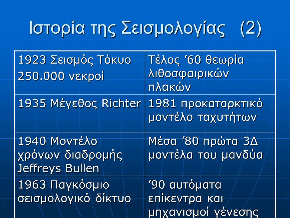 1923 Σεισμός Τόκυο 250.000 νεκροί Τέλος '60 θεωρία λιθοσφαιρικών πλακών 1935 Μέγεθος Richter 1981 προκαταρκτικό μοντέλο ταχυτήτων 1940 Μοντέλο χρόνων