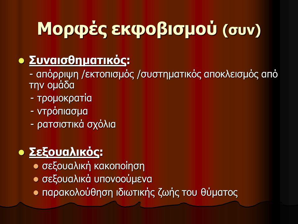 Mορφές εκφοβισμού (συν) Συναισθηματικός: Συναισθηματικός: - απόρριψη /εκτοπισμός /συστηματικός αποκλεισμός από την ομάδα - απόρριψη /εκτοπισμός /συστη