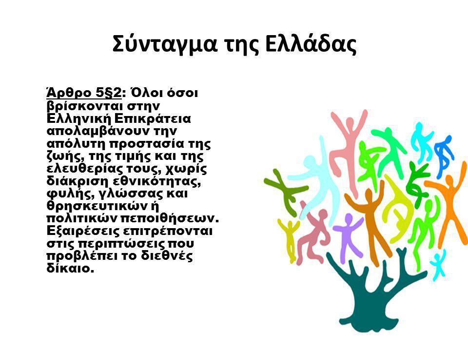 Σύνταγμα της Ελλάδας Άρθρο 5§2: Όλοι όσοι βρίσκονται στην Ελληνική Επικράτεια απολαμβάνουν την απόλυτη προστασία της ζωής, της τιμής και της ελευθερία