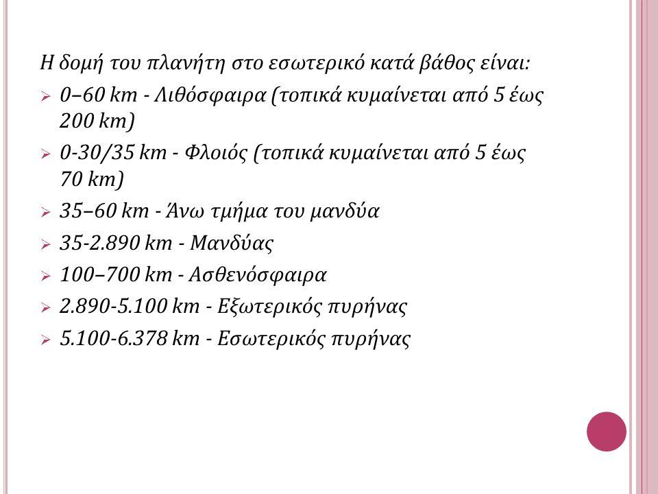 Η δομή του πλανήτη στο εσωτερικό κατά βάθος είναι:  0–60 km - Λιθόσφαιρα (τοπικά κυμαίνεται από 5 έως 200 km)  0-30/35 km - Φλοιός (τοπικά κυμαίνεται από 5 έως 70 km)  35–60 km - Άνω τμήμα του μανδύα  35-2.890 km - Μανδύας  100–700 km - Ασθενόσφαιρα  2.890-5.100 km - Εξωτερικός πυρήνας  5.100-6.378 km - Εσωτερικός πυρήνας