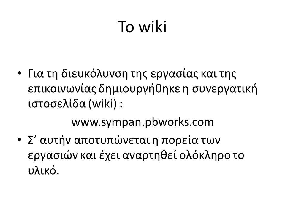 Το wiki Για τη διευκόλυνση της εργασίας και της επικοινωνίας δημιουργήθηκε η συνεργατική ιστοσελίδα (wiki) : www.sympan.pbworks.com Σ' αυτήν αποτυπώνεται η πορεία των εργασιών και έχει αναρτηθεί ολόκληρο το υλικό.