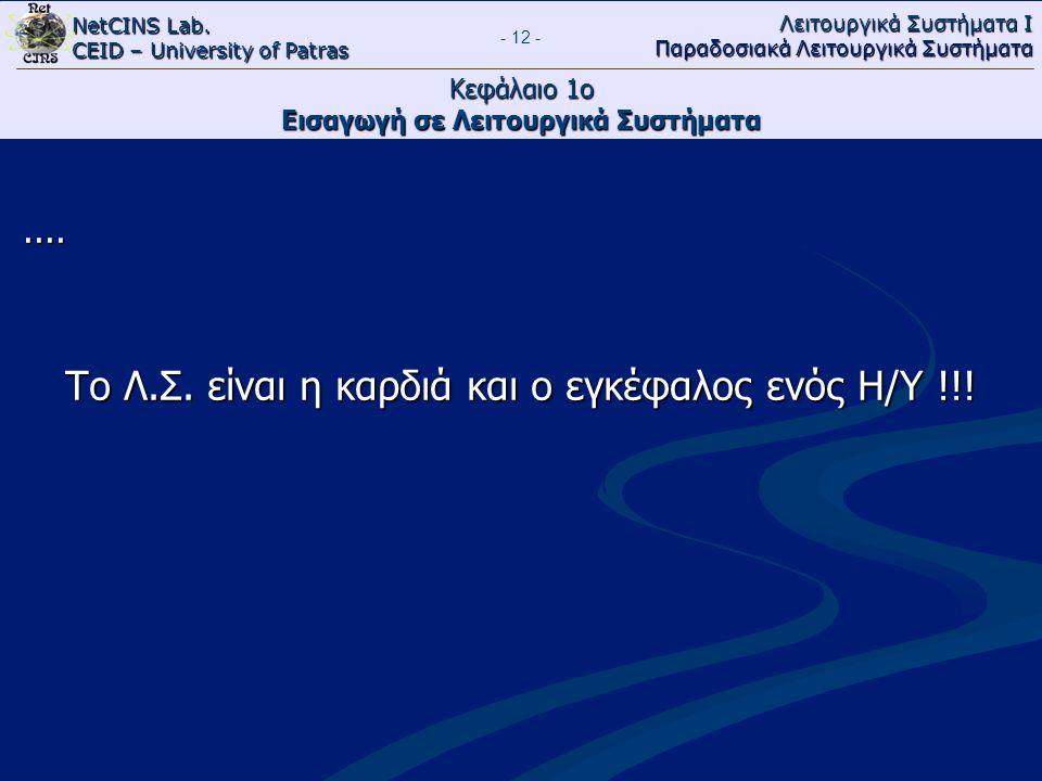 NetCINS Lab. CEID – University of Patras Λειτουργικά Συστήματα Ι Παραδοσιακά Λειτουργικά Συστήματα - 12 - Κεφάλαιο 1ο Εισαγωγή σε Λειτουργικά Συστήματ