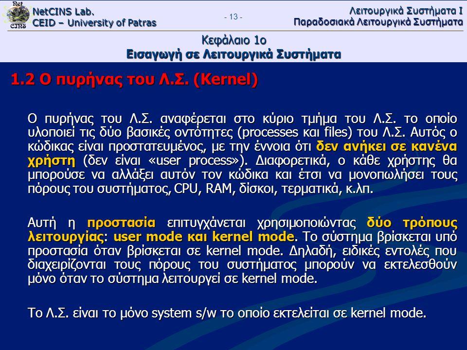 NetCINS Lab. CEID – University of Patras Λειτουργικά Συστήματα Ι Παραδοσιακά Λειτουργικά Συστήματα - 13 - Κεφάλαιο 1ο Εισαγωγή σε Λειτουργικά Συστήματ