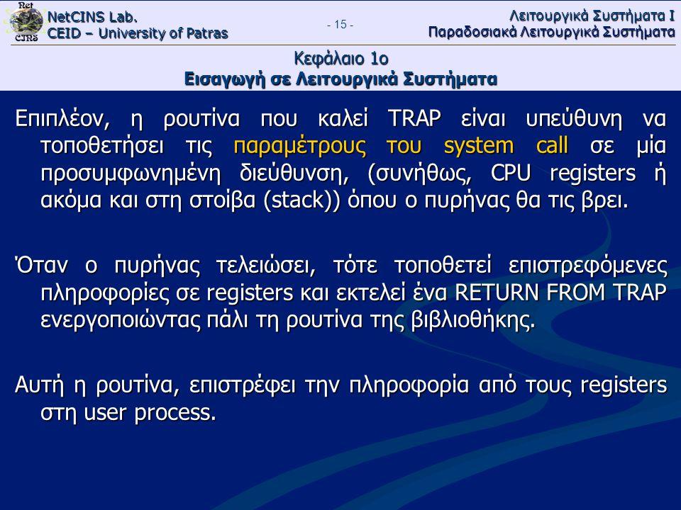 NetCINS Lab. CEID – University of Patras Λειτουργικά Συστήματα Ι Παραδοσιακά Λειτουργικά Συστήματα - 15 - Κεφάλαιο 1ο Εισαγωγή σε Λειτουργικά Συστήματ
