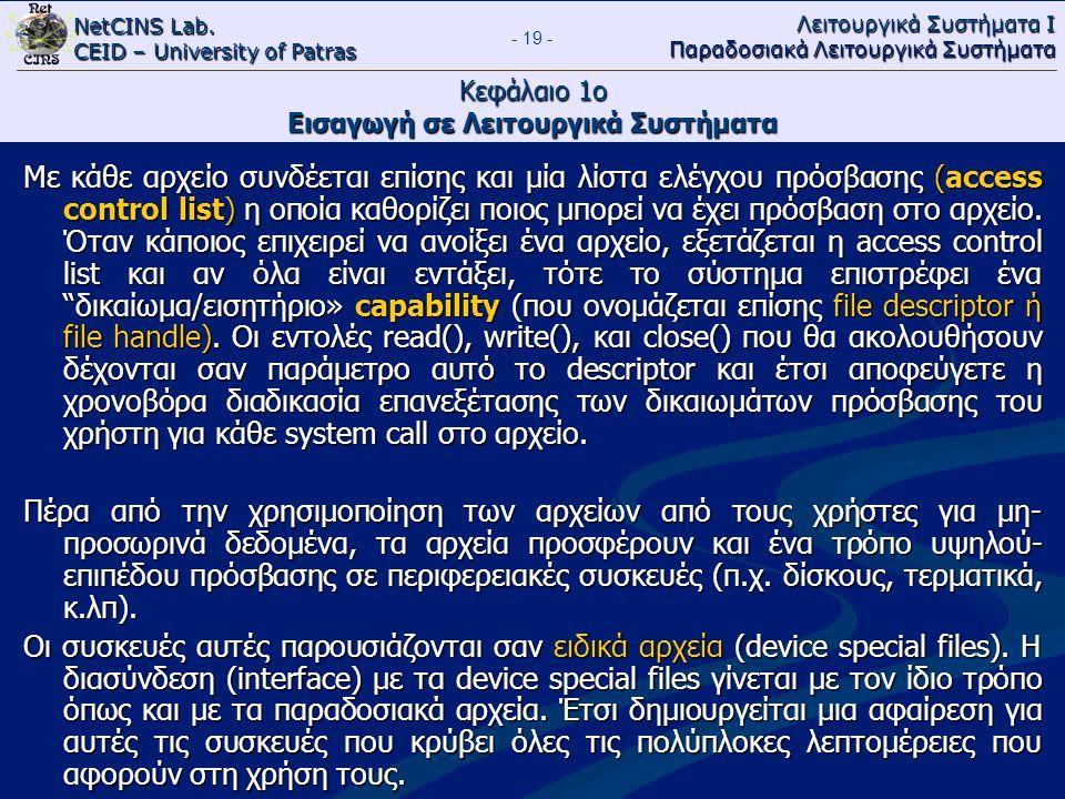 NetCINS Lab. CEID – University of Patras Λειτουργικά Συστήματα Ι Παραδοσιακά Λειτουργικά Συστήματα - 19 - Κεφάλαιο 1ο Εισαγωγή σε Λειτουργικά Συστήματ