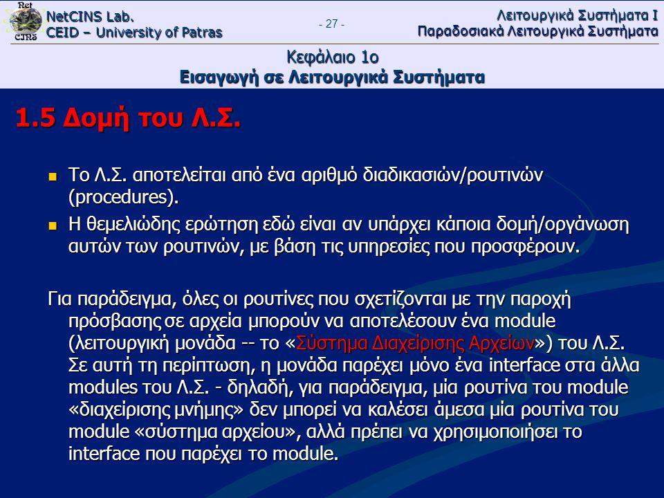 NetCINS Lab. CEID – University of Patras Λειτουργικά Συστήματα Ι Παραδοσιακά Λειτουργικά Συστήματα - 27 - Κεφάλαιο 1ο Εισαγωγή σε Λειτουργικά Συστήματ