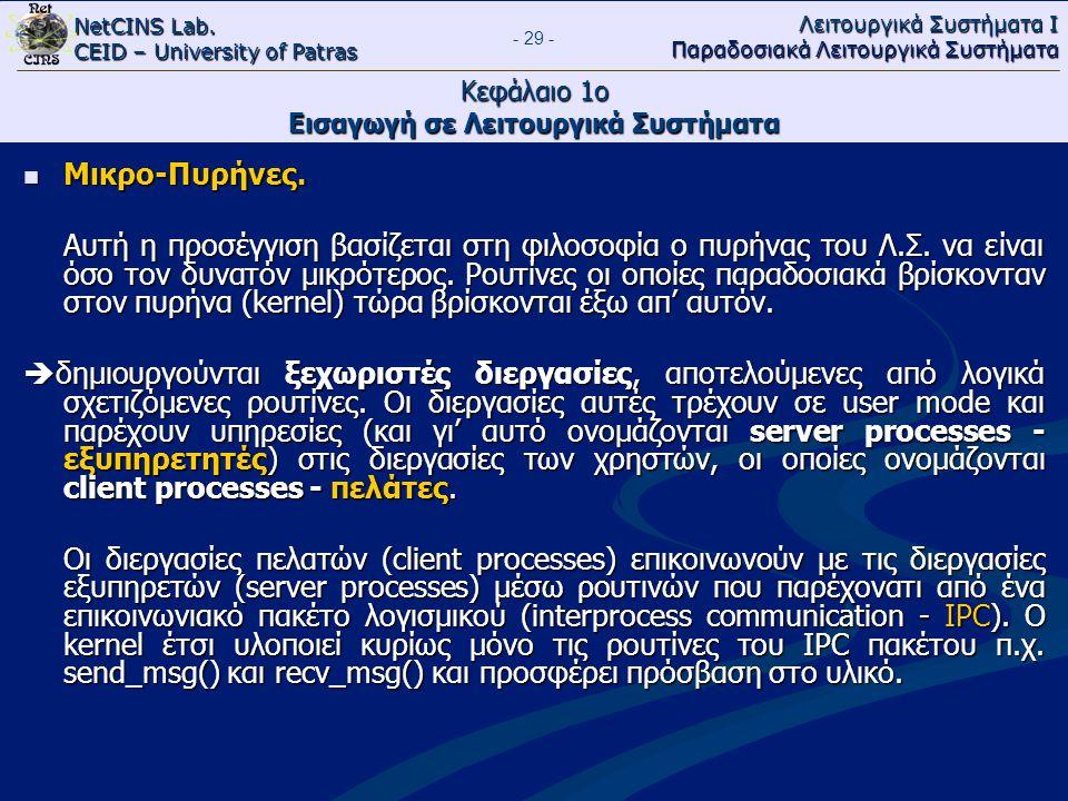 NetCINS Lab. CEID – University of Patras Λειτουργικά Συστήματα Ι Παραδοσιακά Λειτουργικά Συστήματα - 29 - Κεφάλαιο 1ο Εισαγωγή σε Λειτουργικά Συστήματ