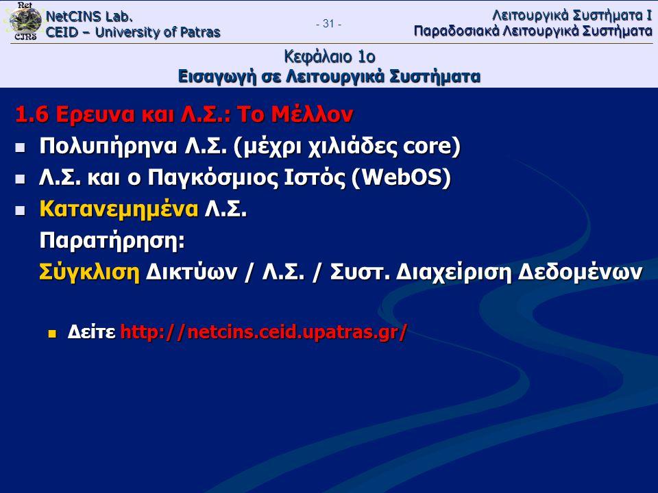 NetCINS Lab. CEID – University of Patras Λειτουργικά Συστήματα Ι Παραδοσιακά Λειτουργικά Συστήματα - 31 - Κεφάλαιο 1ο Εισαγωγή σε Λειτουργικά Συστήματ