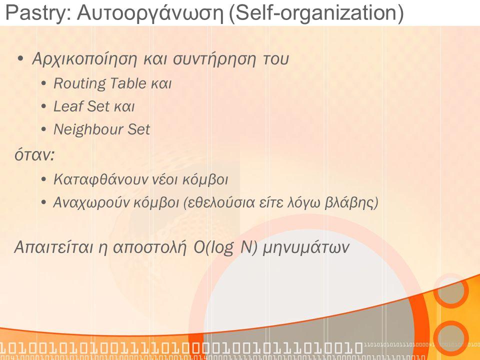 Pastry: Αυτοοργάνωση (Self-organization) Αρχικοποίηση και συντήρηση του Routing Table και Leaf Set και Neighbour Set όταν: Καταφθάνουν νέοι κόμβοι Ανα